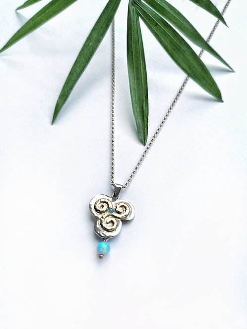 Silver & gold spiral opalite necklace