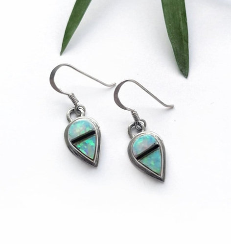 Silver & Opalite with Black Onyx detail earrings