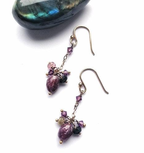 Silver & gold vermeil gemstone cluster earrings