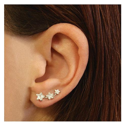 Silver crystal star ear climbers