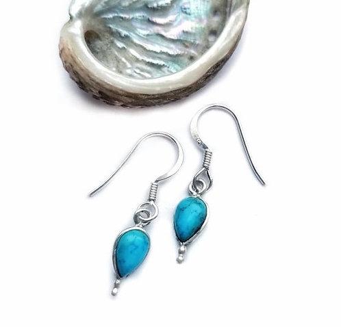 Silver & turquoise detail drop earrings