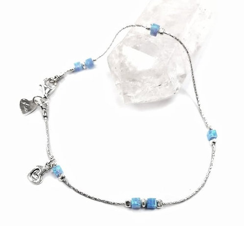 Luxury silver & square opalite anklet with heart detail