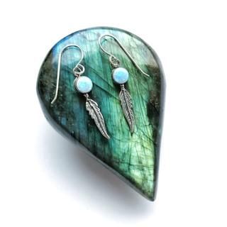Silver & opalite feather earrings