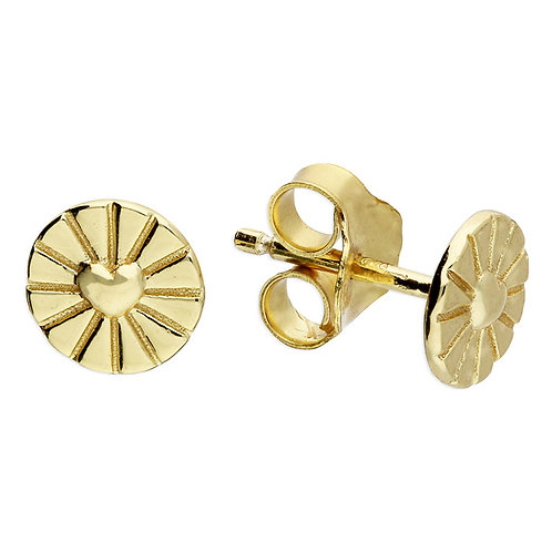 Silver & gold vermeil round heart detail studs