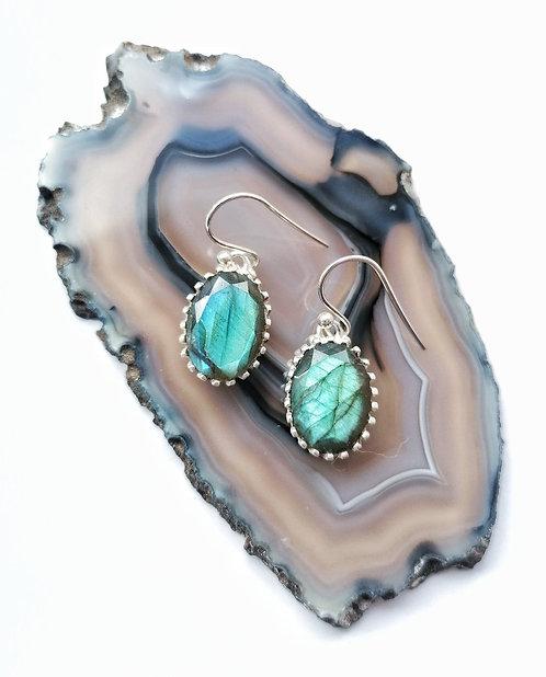 Silver & Labradorite oval drop earrings