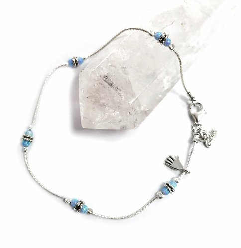 Luxury silver & opalite anklet with hand detail