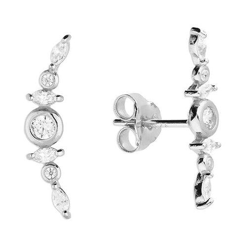 Silver & Crystal cluster ear climber studs.