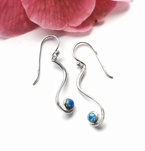 Silver swirl opalite drop earrings