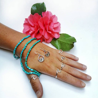 Silver wave & turquoise jewellery