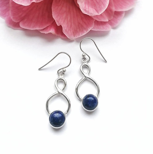 Silver twist with round lapis lazuli earrings