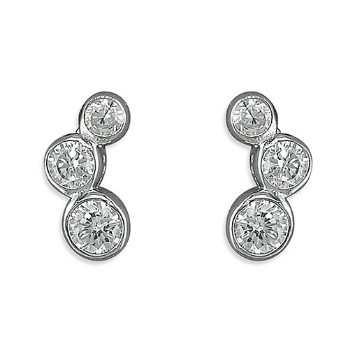 Silver graduated crystal studs
