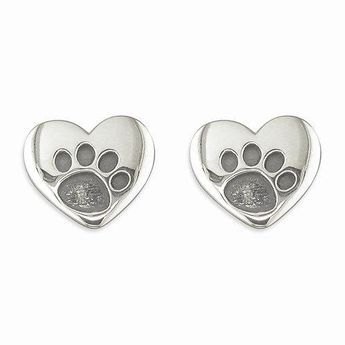 Silver heart pawprint studs