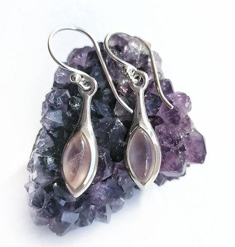 Silver & Rose Quartz oval drop earrings
