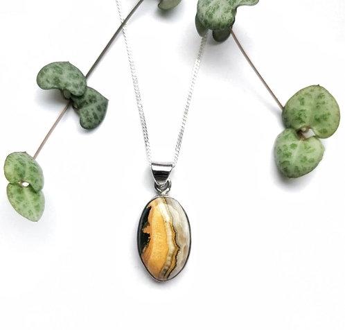 Silver bumblebee jasper oval necklace