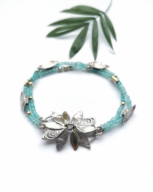 Silver & Gold detail Aquamarine leaf bracelet