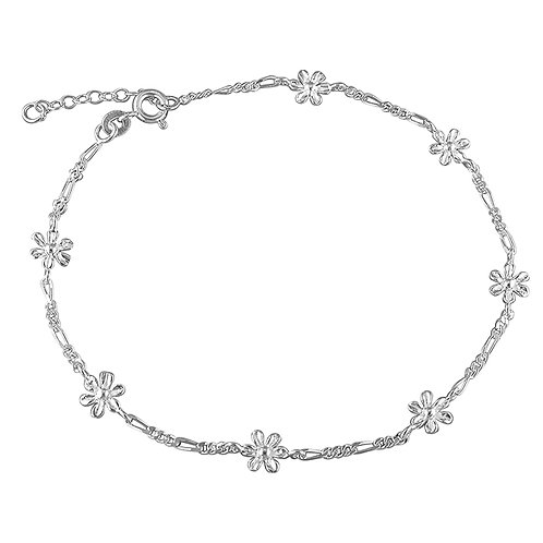 Silver figaro daisy chain anklet