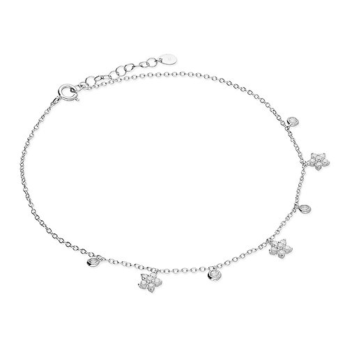 Silver & crystal daisy anklet