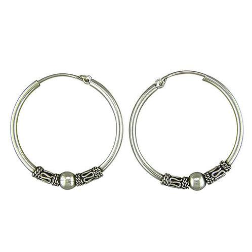 Silver medium Bali pattern hoops