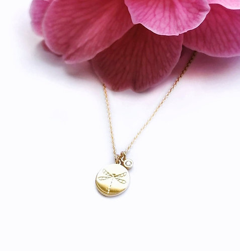 Silver & gold vermeil dragonfly necklace