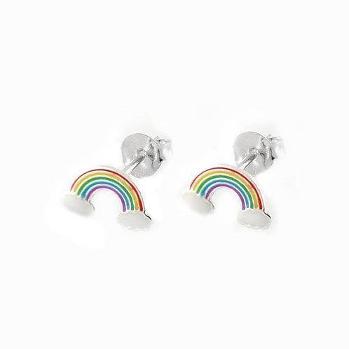 Silver rainbow & cloud stud earrings