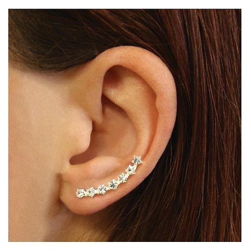 Silver & large crystal ear climbers