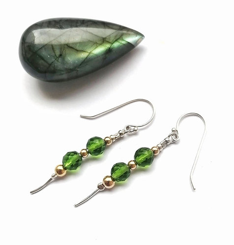 Silver & gold vermeil with green crystal cascade earrings