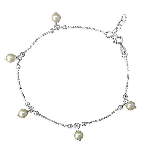 Silver & pearl bobble anklet