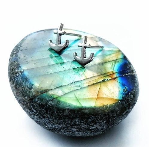Silver anchor stud earrings