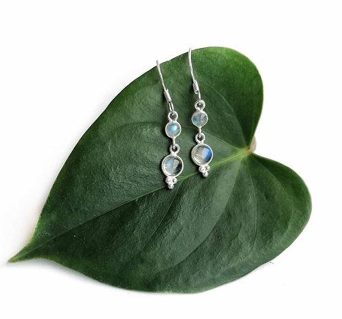 Silver double moonstone detail earrings