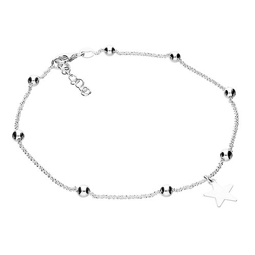 Silver star & bead anklet