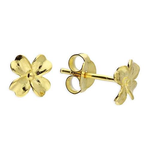 Sweet silver & gold vermeil clover stud earrings