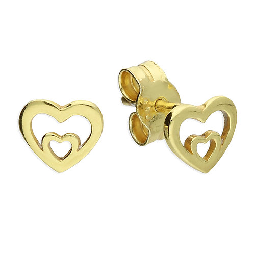 Silver & gold vermeil double heart studs