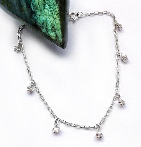 Silver star crystal anklet