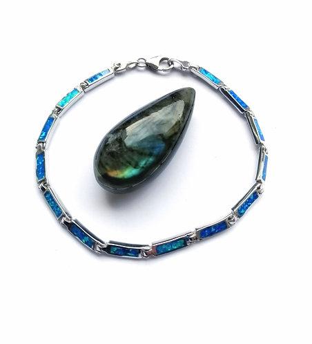 Silver & opalite segment bracelet