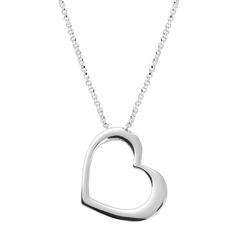 Silver hanging heart necklace