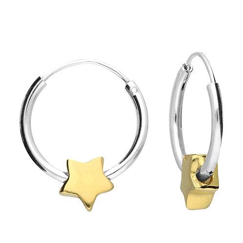 Silver & gold vermeil star hoops