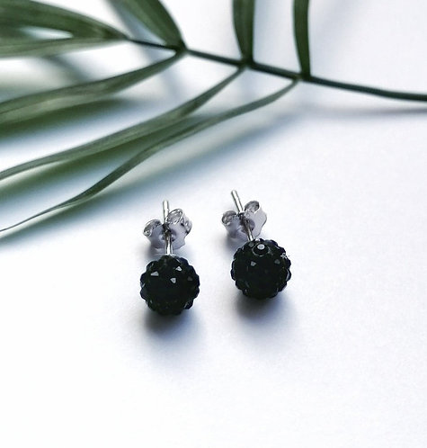 Silver sparkling small black crystal ball stud earrings.