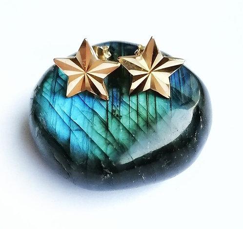 Silver & gold vermeil medium star stud earrings