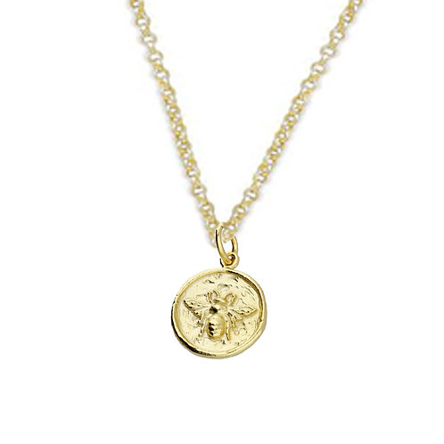 Silver & gold vermeil mini bee round necklace