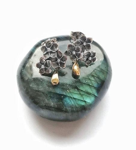 Silver & gold vermeil floral cluster stud earrings