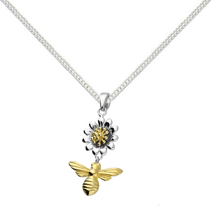 Silver daisy & bee necklace