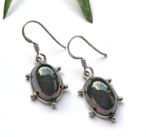 Silver & dark Garnet detail earrings