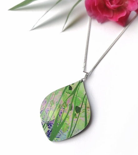 Silver & Aluminium green detail necklace