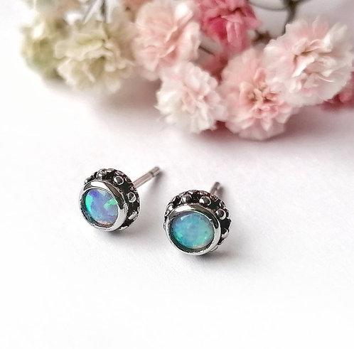 Silver & opalite patterned stud earrings