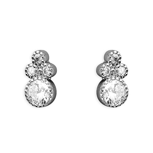 Silver small ornate crystal studs
