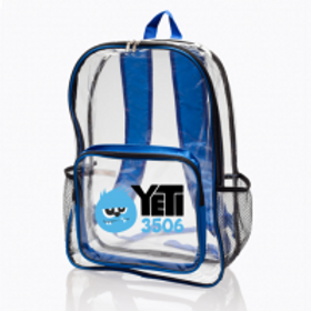 13W x 18H in.  Pocket Clear Plastic Backpacks