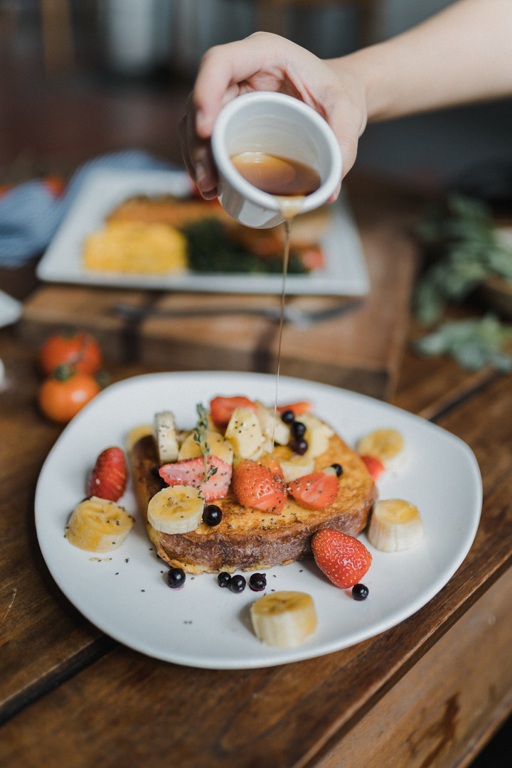 Brioche French Toast, fruit, agave nectar and butter