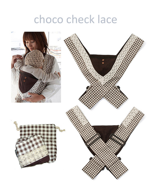Minizone Baby Carrier - Choco Check Lace-Free Shipping Worldwide