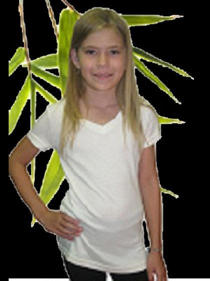 Bambu Dru Organic Bamboo Cotton Girl's Short Sleeved V-Neck Tee