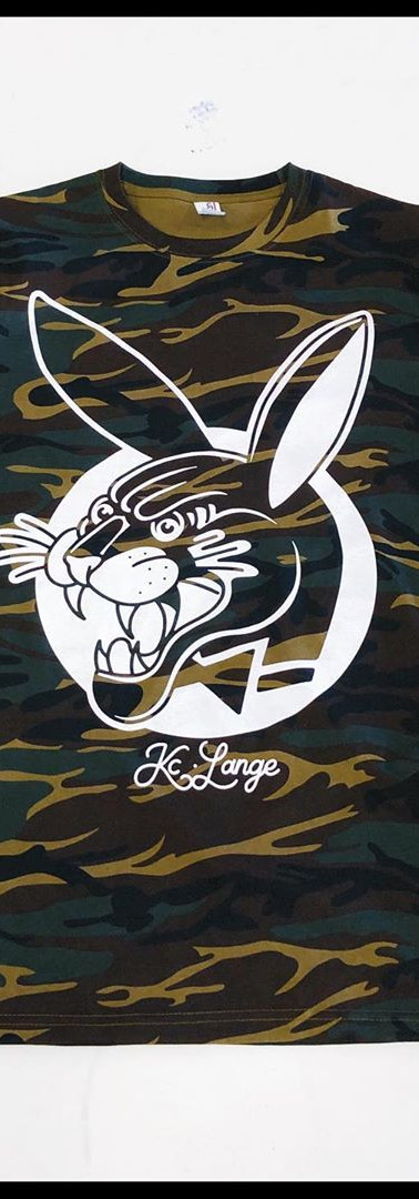 Once color print on Camo for tattoo artist KC Lange